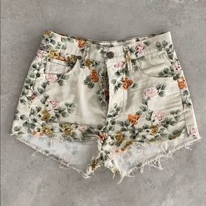 CITIZENS OF HUMANITY FLORAL DENIM SHORTS